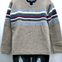 1990's V-Neck Sweater by Express Bleus - 100% Wool Pullover - Taupe Brown w/ Colorful Stripes - Warm Knit - Women's Size Small (S)