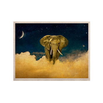 "Nick Atkinson ""Celestial Elephant"" Black Blue KESS Naturals Canvas (Frame not Included)"