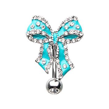Luxurious Bow Tie Ribbon Drop Top Down Reversible Belly Button Ring