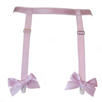 Sugarplum Garter Belt - pink satin elastic suspender belt - hand made to order