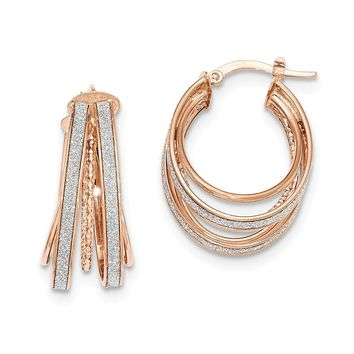 14K Rose Gold Polished Glitter Infused Small Oval Hoop Earrings