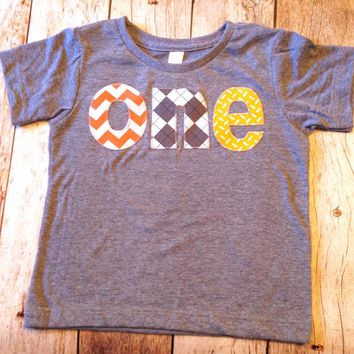 Triblend grey one Birthday Shirt for boys 1st Birthday - orange chevron, construction trucks, yellow truck diamond plate