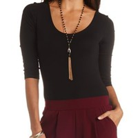 Three-Quarter Sleeve Bodysuit by Charlotte Russe - Black