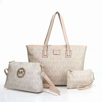 """MICHAEL KORS"" women shopping shoulder bag female inclined shoulder bag brown three piece Apricot  G-LLBPFSH"