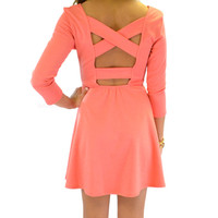 Pasadena Coral Cross Back Dress