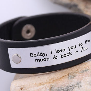 Personalized Leather Bracelet -  Hand stamped Leather Bracelet- Father Day Leather Bracelet