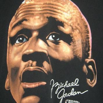 vintage MICHAEL JORDAN Chicago Bulls t shirt - Huge face sz large