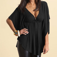Loose Batwing Sleeve Solid Blouse [6259231236]