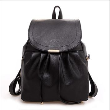 2016 Off White School Bags For High School Lady Backpack Purse Back Bag Leather Backpack Black Morrales Classic Leather Backpack