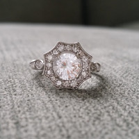 "Halo White Sapphire and Diamond Ring Gemstone Engagement Ring Antique Flower Estate Octagon Cushion Round 14K White Gold Vintage ""The Elsa"""