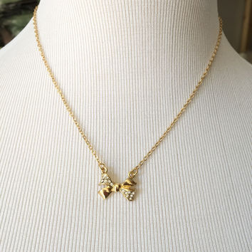 Bow Necklace - Gold