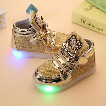 Hot SALE Kids shoes baby Fashion LED light shoes kids light up glowing sneakers little