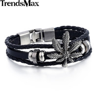 Men Cannabis Leather Men Bracelet