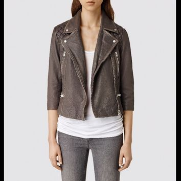 All Saints Cropped Cargo Leather Biker Jacket - 2