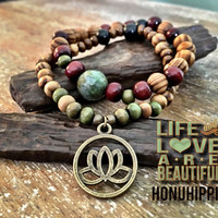 Lotus flower bracelet, boho hippie yoga jewelry