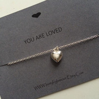 Heart Necklace, Heart Pendant, Heart Charm Necklace, Silver Heart Necklace, Valentines Gift