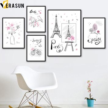 Watercolor Paris Tower Flower Bicycle Bird Tree Nordic Posters and Prints Wall Art Canvas Painting Wall Pictures Girl Room Decor