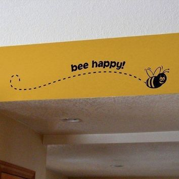 Bee Happy Vinyl Decal by OffTheWallExpression on Etsy