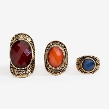 Boho Stone Accent 3pc Ring Set