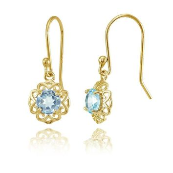 Yellow Gold over Sterling Silver Blue Topaz Filigree Dangle Earrings