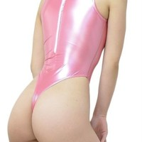 REALISE T-007SH gloss rubber high neck swimsuit T-back M Pink from japan New
