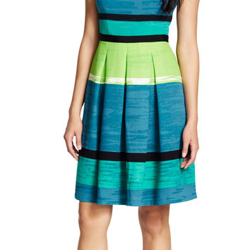Pleated Striped Fit and Flare Dress - Adrianna Papell