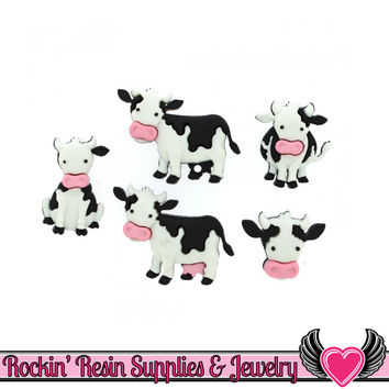 Jesse James Buttons 5 pc MOOVE IT Cow Buttons OR Turn them Into Flatback Decoden Cabochons