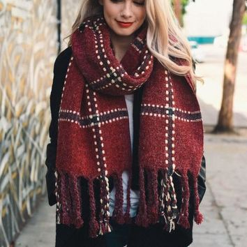 Chunky Plaid Blanket Scarf +COLORS