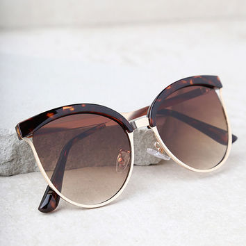 Song and Glance Tortoise and Brown Mirrored Cat-Eye Sunglasses