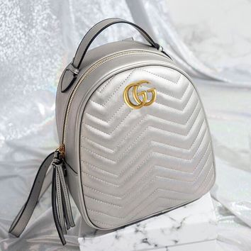 Gucci Trending Women Stylish Leather Backpack Bookbag Silvery I12101-2