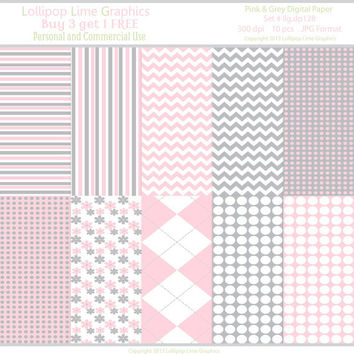Digital Paper Pack Pink Grey Chevron Polka Dots Stripes Argyle Flowers INSTANT DOWNLOAD Scrapbooking Paper
