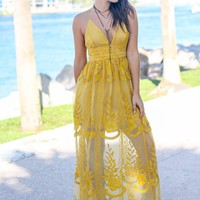 Mustard Embroidered Maxi Dress with Criss Cross Back
