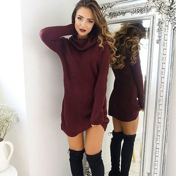 Winter New Year Christmas Sexy Cashmere Ribbed Ladies Sweater Long Sleevetops For  Women Pull Femme Pullover Wine Red Turtleneck