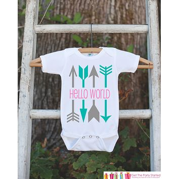 Hello World Onepiece - Hipster Arrow Bodysuit for Newborn Baby Girls - Going Home Outfit - Coming Home Onepiece - Pink Girl Hospital Outfit