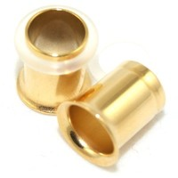 0G = 8mm Surgical Steel Single Flare Flesh Tunnels Plugs Earlets Gauges, Anodized Gold, 1 Pair