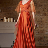 Grecian Orange Formal Prom Evening Dress with Sleeves | CX882180