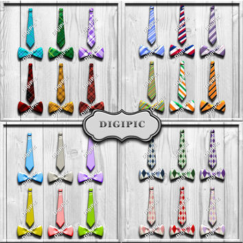COMMERCIAL USE OK, 24, Long Thin Ties And Bow Ties, Digital Scrapbook, Card Making, Elements, Clip Art, 300dpi, Png, Instant Download