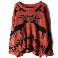 Deer round neck knit pullover sweater BBCABI from MegaFashion