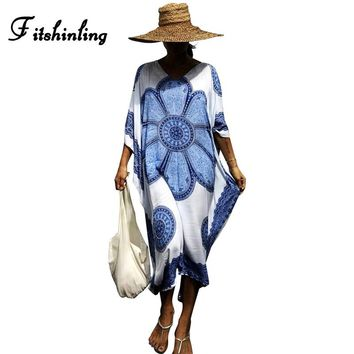 Fitshinling Big sizes robe athnic print loose summer dresses and sarafans batwing sleeve vintage beach dress female pareos sexy