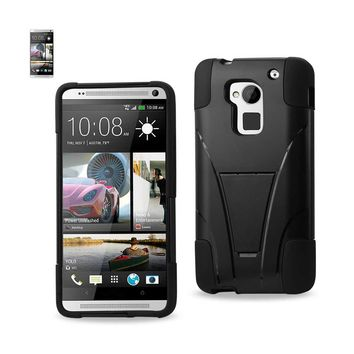 New Hybrid Heavy Duty Case With Kickstand In Black For HTC One Max By Reiko