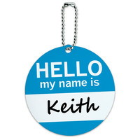 Keith Hello My Name Is Round ID Card Luggage Tag