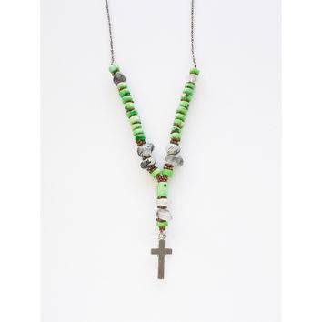 Gemstone Cross Charm Layering Necklace