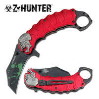 SKULL TACTICAL RED ASSISTED OPENING KNIFE WITH FINGER RING