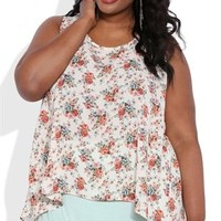 Plus Size High Low Tank Top with Vintage Floral Print