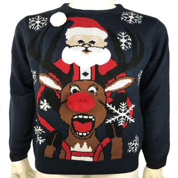 Funny Ugly Christmas Sweaters for Men and Women Plus Size Santa Claus Riding Rudolph the Red Nose Reindeer Pattern Xmas Pullover