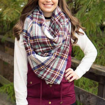 Blanket Scarf - Burgundy & White