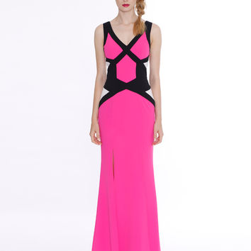 Honey & Beau Hot Pink Block Me Maxi Dress