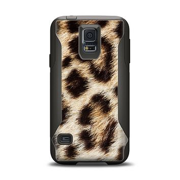 The Leopard Furry Animal Hide Samsung Galaxy S5 Otterbox Commuter Case Skin Set
