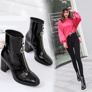Plush Fur Winter Boots Women Front Zipper Patent Leather Chelsea Boots Square Toe Thick High Heels Motorcycle Boots Martin Botas