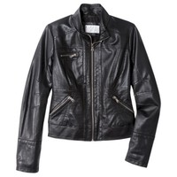 Xhilaration® Junior's Perforated Faux Leather Jacket -Black